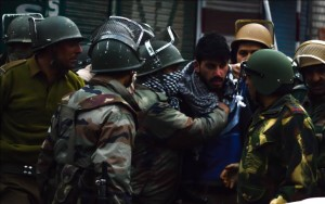 Youth Detained in Old City for Protesting Against the Killing of Gowhar Nazir by CRPF (Pic by Xuhaib Maqbool)