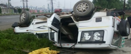 Miraculous Escape For Bakerwals After Passenger Cab Overturns