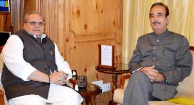 Ghulam Nabi Azad Meets Governor Satya Pal Malik At The Raj Bhavan